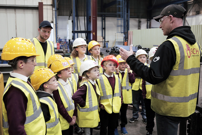 Children from Vane Road Primary School in Newton Aycliffe get an exclusive look of steel being fabricated which will construct their new school, set to open in autumn 2018 (pictures by Stuart Boulton).